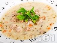 Супа топчета с телешка кайма с ориз